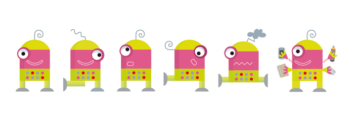 Diferentes posiciones y estados de ánimo del robotito